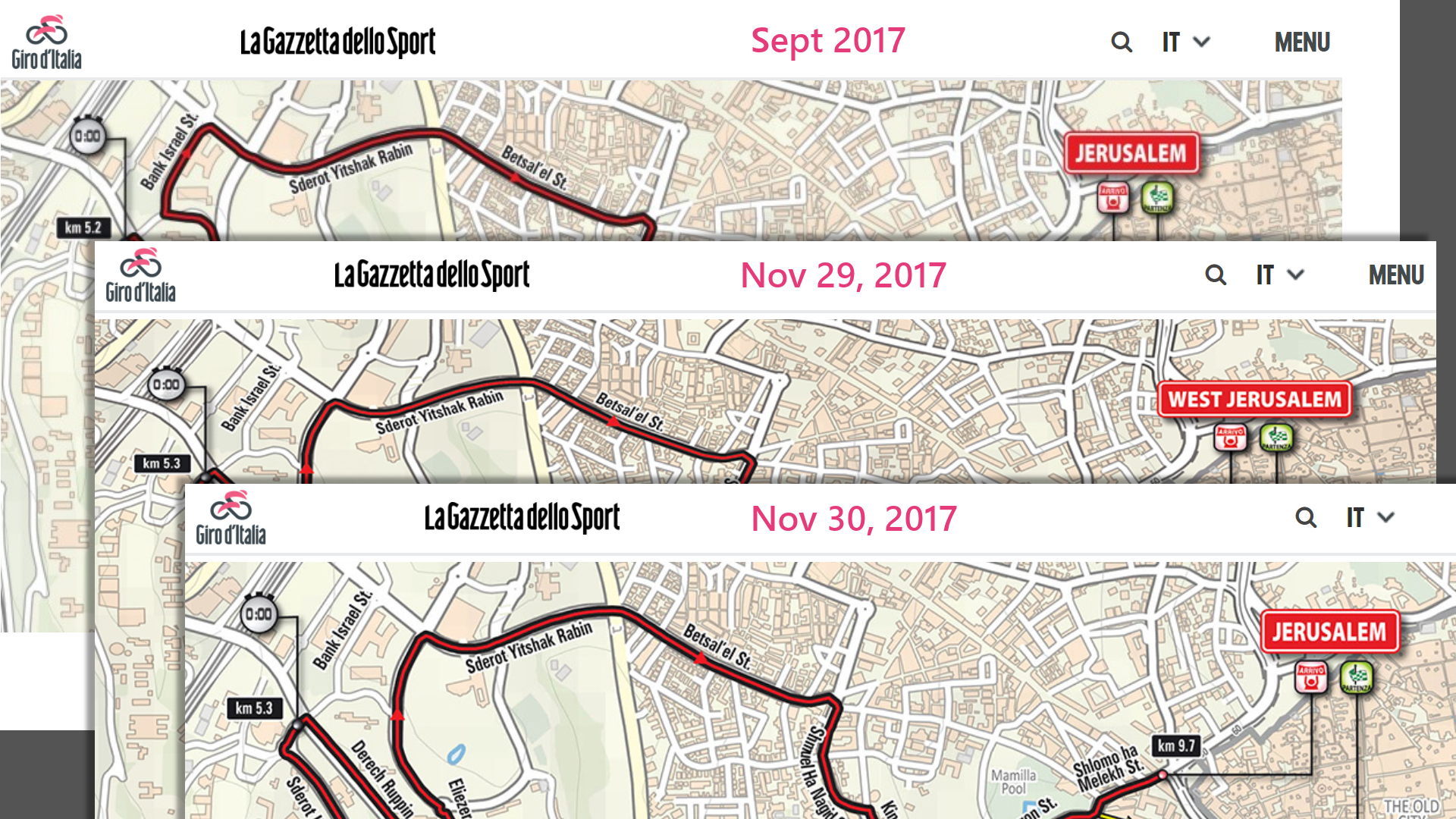 """Giro d'Italia before and after images of """"West Jerusalem"""""""