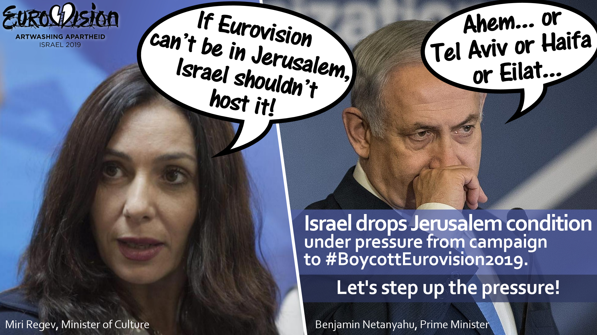 """Israel Drops """"Jerusalem Condition"""" for Hosting Eurovision in First Milestone For Boycott Campaign"""