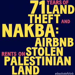 Pledge to #deactivateAirbnb on May 15, Nakba Day