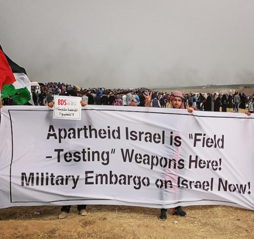 Palestinians in Gaza participating in the Great March of Return support BDS to hold Israel accountable