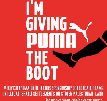 Give Puma the Boot. Join the call from Palestinian athletes to boycott Puma.